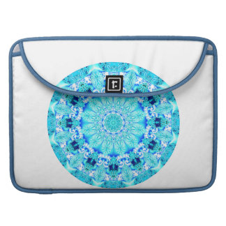Aqua Lace Mandala, Delicate, Abstract Sleeve For MacBooks