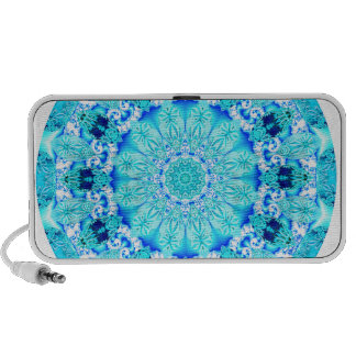 Aqua Lace Mandala, Delicate, Abstract Travel Speakers