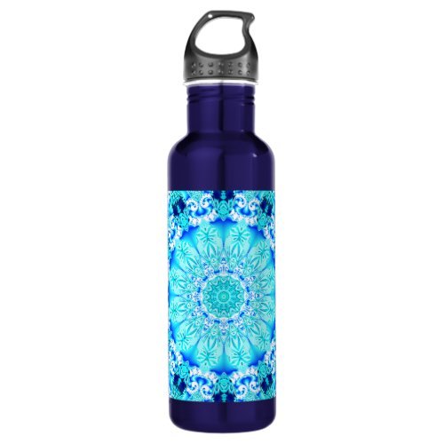 Aqua Lace Mandala, Delicate, Abstract Stainless Steel Water Bottle