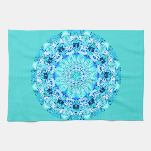 Aqua Lace Mandala, Delicate, Abstract Towel