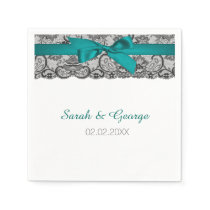 Aqua lace personalized wedding napkins