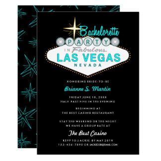 Aqua Las Vegas Sign Bachelorette Party Invitation