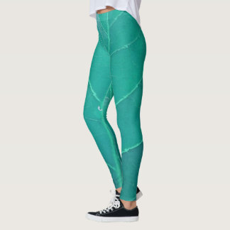 Aqua Leaf Leggings