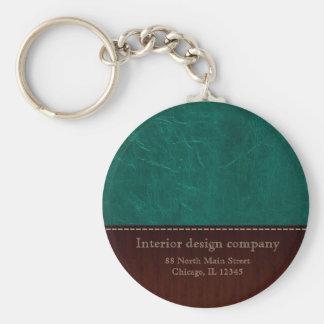Aqua leather look basic round button keychain