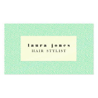 Aqua Leaves Pattern Hair Stylist Template Business Cards