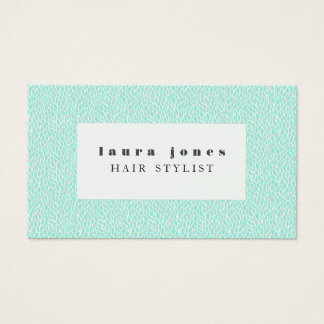 Aqua Leaves Pattern Hair Stylist Template Business Card