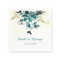 Aqua leaves personalized wedding napkins