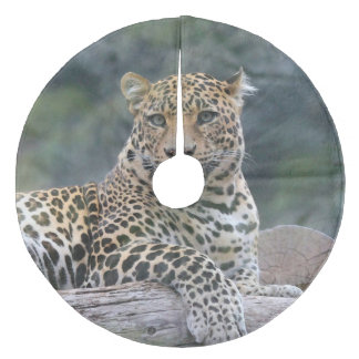Aqua_Leopard_20180105 Fleece Tree Skirt