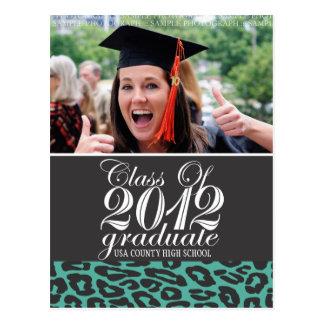 Aqua Leopard Class of 2012 Graduation Postcard