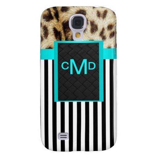 Aqua Leopard Monogram Stripes 3G/3GS  Samsung Galaxy S4 Cover