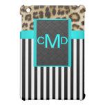 Aqua Leopard Monogram Stripes  iPad Mini Cases
