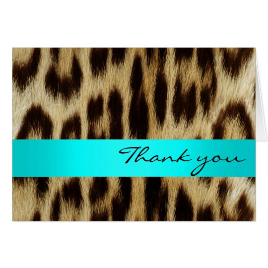 Aqua Leopard Monogram Stripes Thank You Note Card