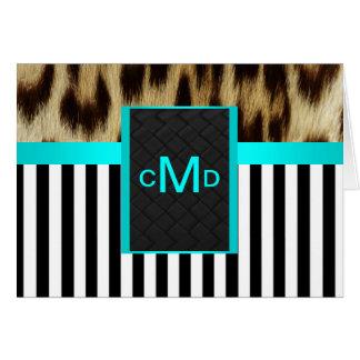 Aqua Leopard Monogram Stripes Thank You Note Cards