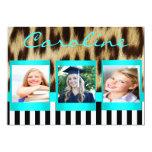 """Aqua Leopard Stripes Grad Photo Invite 5"""" X 7"""" Invitation Card"""