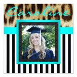 """Aqua Leopard Stripes Grad Photo Invite 5.25"""" Square Invitation Card"""