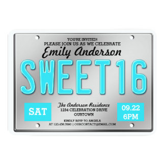 Aqua License Plate Sweet 16 Party Invitations