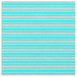 [ Thumbnail: Aqua & Light Gray Lined Pattern Fabric ]