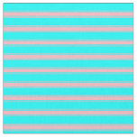 [ Thumbnail: Aqua & Light Pink Colored Lined Pattern Fabric ]