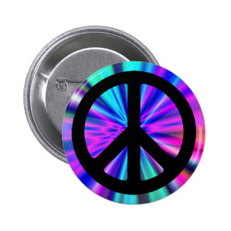 Aqua Light Show with Peace Sign 2 Inch Round Button