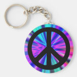 Aqua Light Show with Peace Sign Basic Round Button Keychain