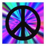 Aqua Light Show with Peace Sign Custom Invite