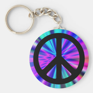 Aqua Light Show with Peace Sign Keychain