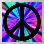 Aqua Light Show with Peace Sign Poster
