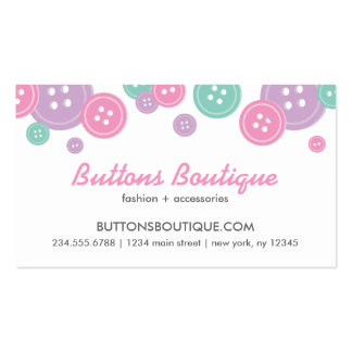 Aqua Lilac & Pink Cute Buttons Border Business Card