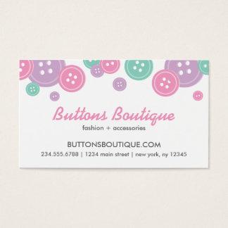 Aqua Lilac & Pink Cute Buttons Border Business Card