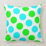 Aqua Lime and White Polka Dots Throw Pillow