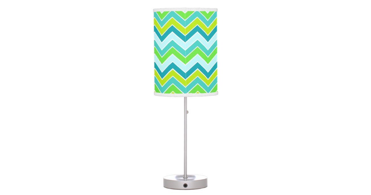 aqua lime blue chevron zigzag pattern lamp shade zazzle. Black Bedroom Furniture Sets. Home Design Ideas