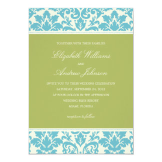 AQUA & LIME DAMASK | WEDDING INVITATION