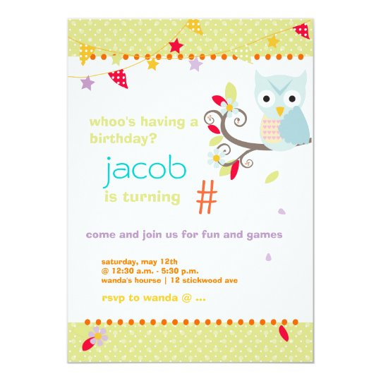 Aqua/Lime Owl Personalized Birthday Party Card