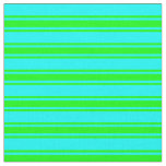 [ Thumbnail: Aqua & Lime Striped/Lined Pattern Fabric ]
