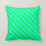 [ Thumbnail: Aqua & Lime Striped/Lined Pattern Throw Pillow ]