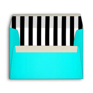 Aqua Lined with Black and White Stripes envelope
