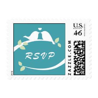 Aqua Love Birds RSVP Postage Stamps