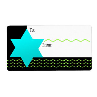 Aqua Magen David, Neon Green (To-From) Shipping Label