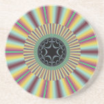 Aqua Magenta Sunburst Fractal Coaster