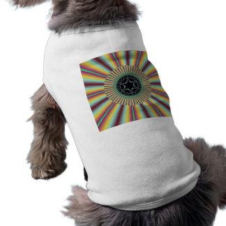 Aqua Magenta Sunburst Fractal Dog Clothes