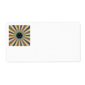 Aqua Magenta Sunburst Fractal Label