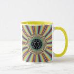 Aqua Magenta Sunburst Fractal Mug