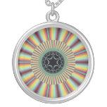 Aqua Magenta Sunburst Fractal Round Pendant Necklace