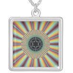 Aqua Magenta Sunburst Fractal Square Pendant Necklace