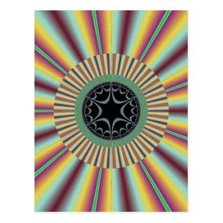 Aqua Magenta Sunburst Fractal Postcard