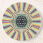 Aqua Magenta Sunburst Fractal Sandstone Coaster