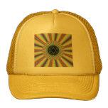 Aqua Magenta Sunburst Fractal Trucker Hat