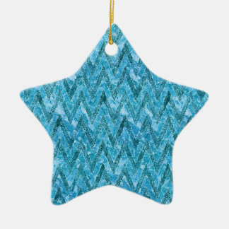 Aqua Marbled Chevron Ceramic Ornament