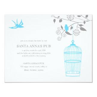 Aqua Marigold Bridal Shower Invitations