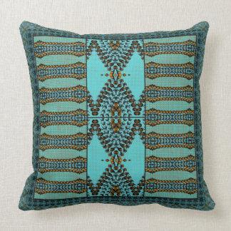 Aqua Marine Beaded Gems Throw Pillow